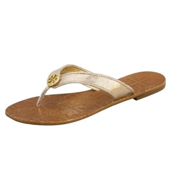 27ff8a4558b6 NWT Tory Burch Thora Metallic Gold Thong Sandals